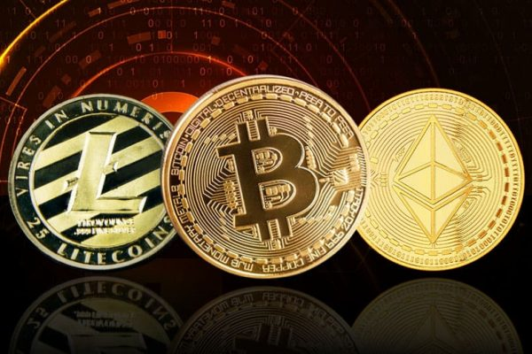 Drie grote cryptocurrencies Bitcoin Ethereum Litecoin